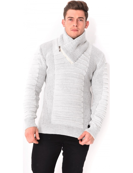 Pull en maille col châle