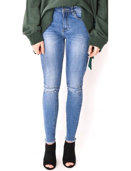 Jeans taille haute à clous