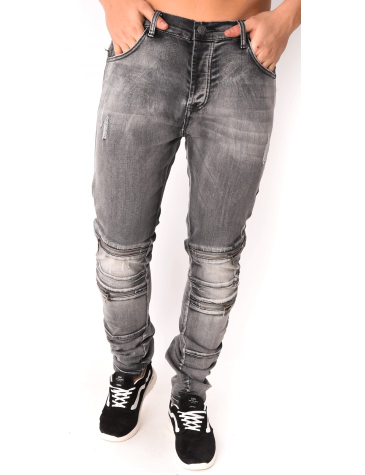 Men's Grey Jeans with Zips