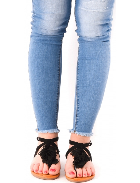 Sandales plates en suédine à franges