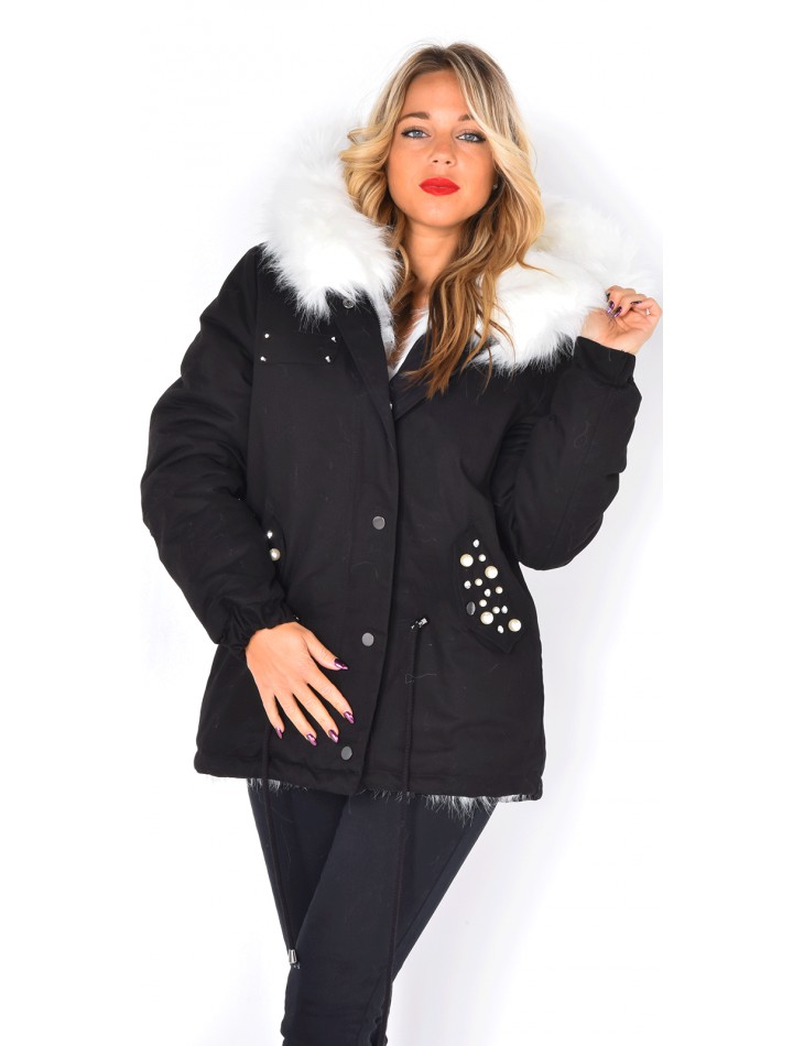 Parka with Fur and Pearls
