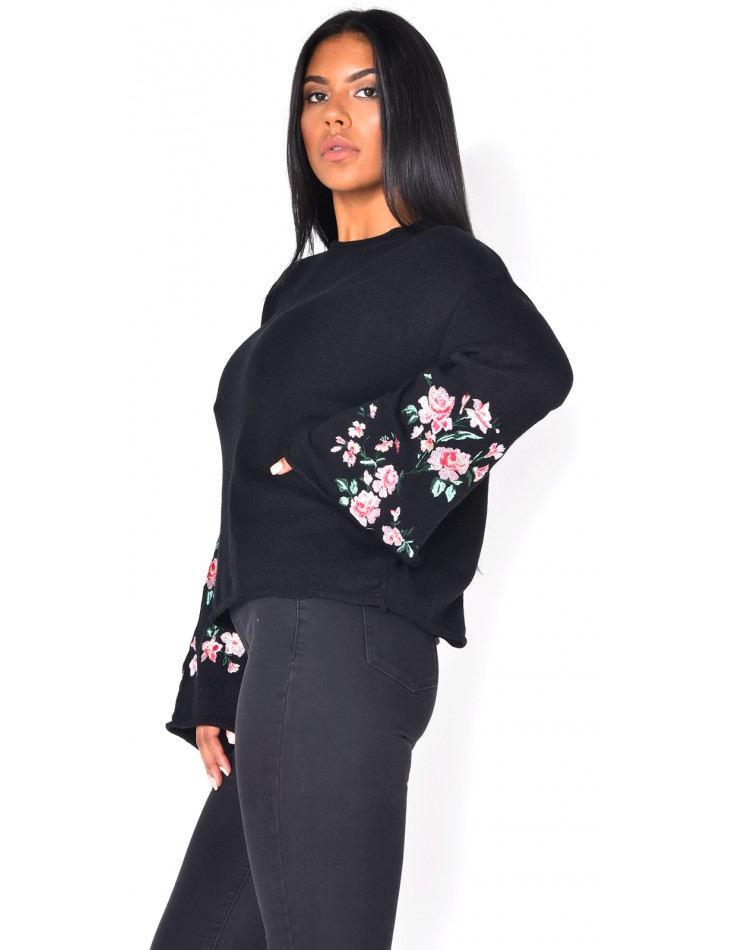 Jumper with Embroidered Sleeves