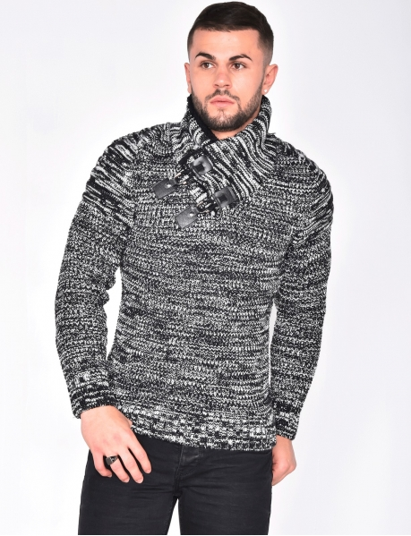 Gros pull maille col montant