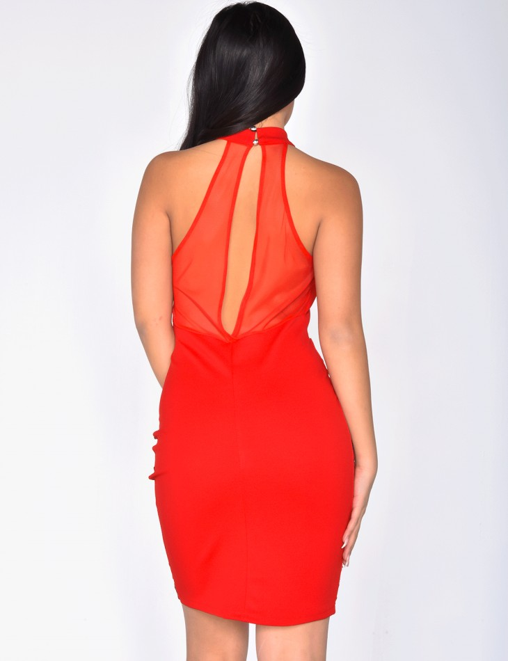 Bodycon Dress with Sequins and Transparent Inserts