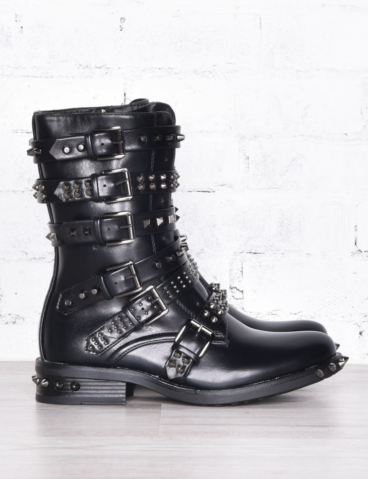 Studded Combat Boots with Straps