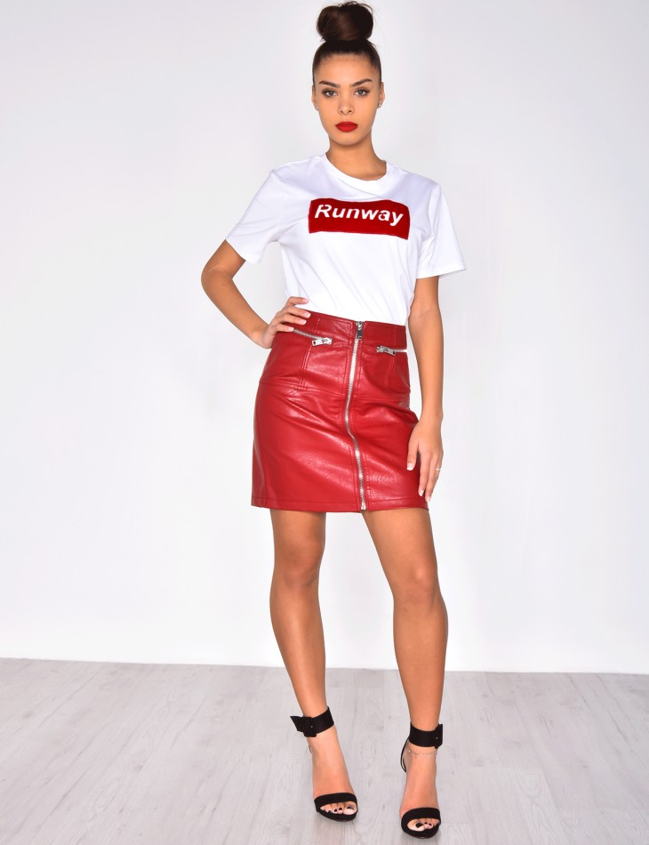 Leather Skirt with Zips