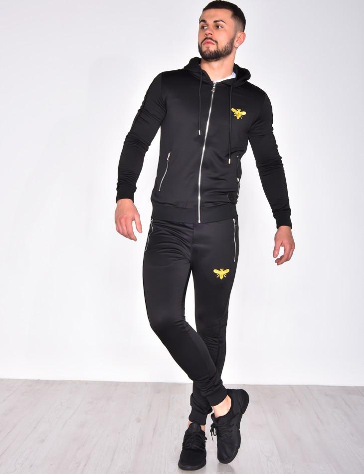 Pantalon de jogging à bande velours et patch