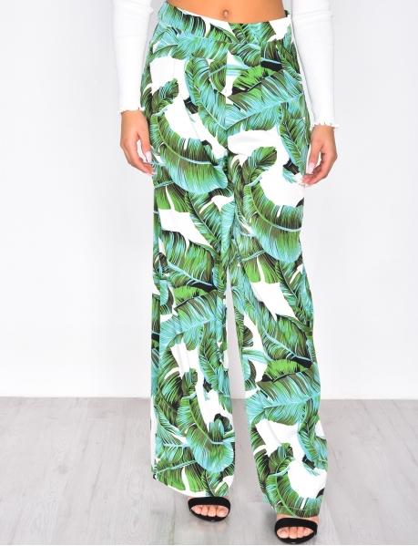 Pantalon palazzo motif feuilles
