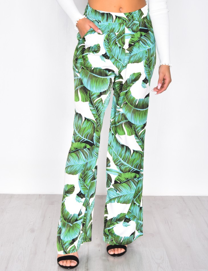 Palazzo Trousers with Leaf Pattern