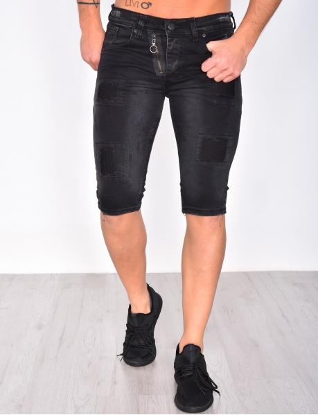 Bermuda en jeans à zips