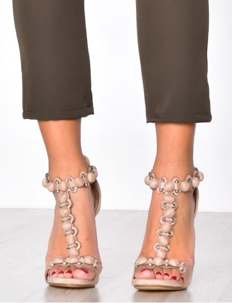 Sandales à talons en suédine à clous
