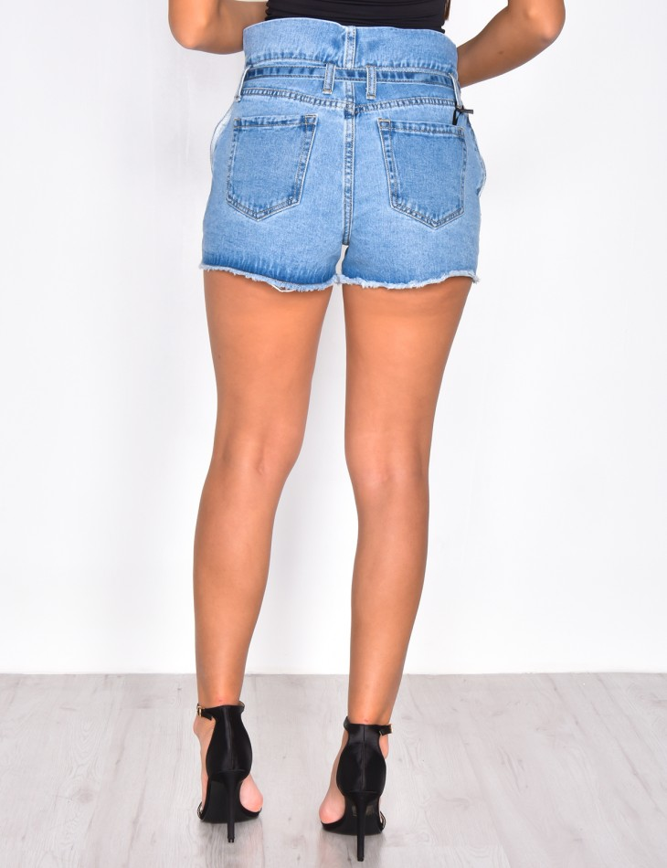 High Waisted Denim Shorts with Belt