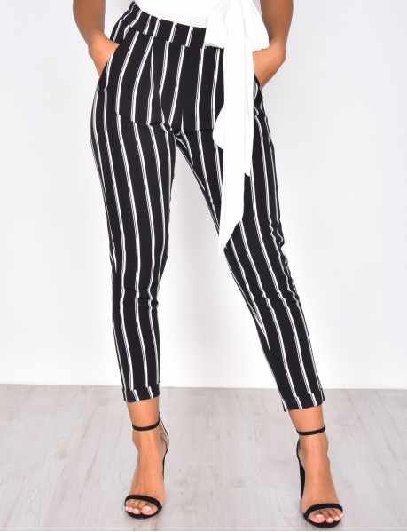 Pantalon de tailleur rayé