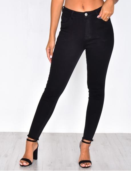 Jeans noir skinny taille haute