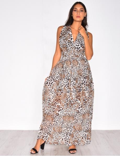 Robe longue léopard croisé dans le dos