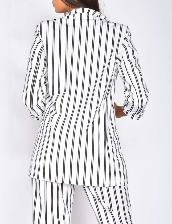 Striped blazer with pearls