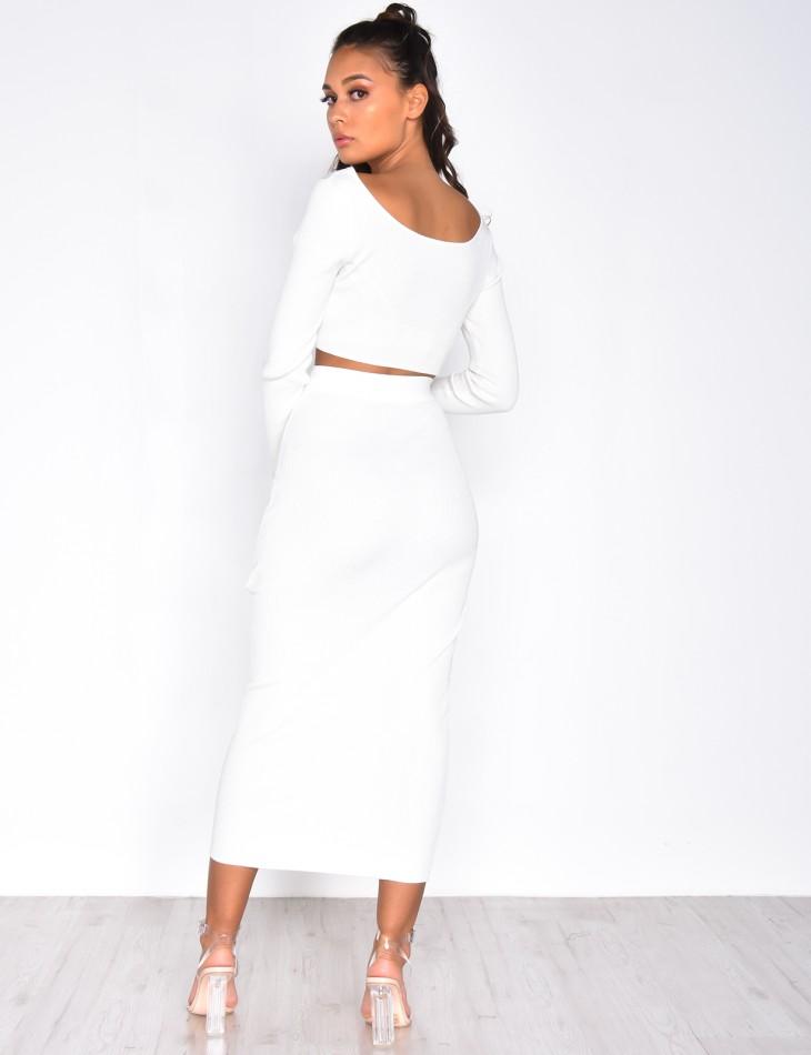 Ensemble jupe longue et crop-top manches longues côtelées
