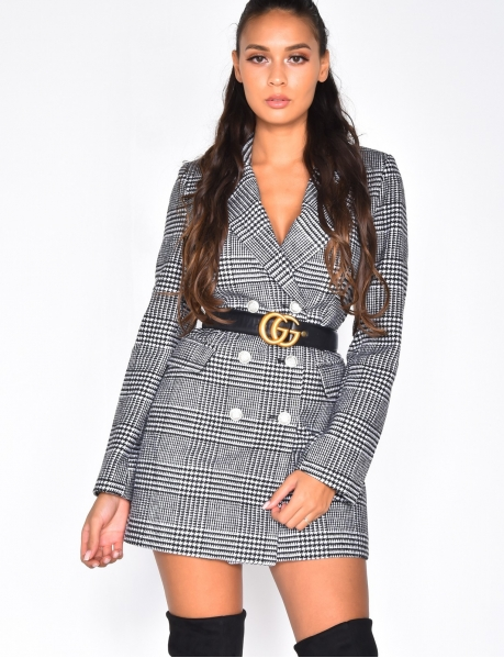 Mid-Length Checked Coat