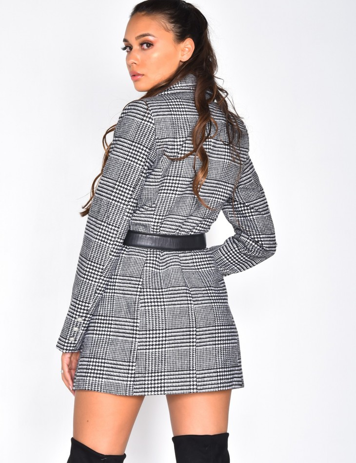 Mid-Length Checked Coat