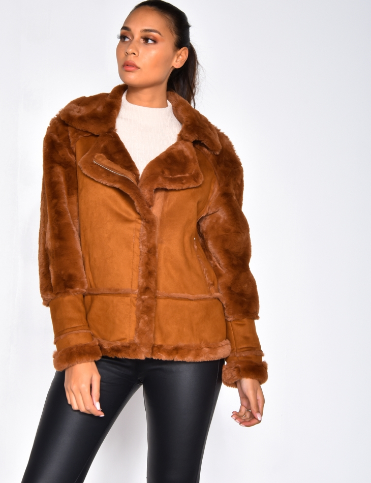 Suedette and Fur Jacket