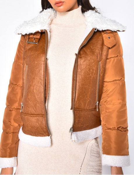 Jacket with Sheepskin Style Fur