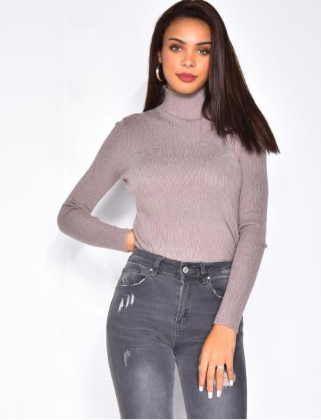 Pullover mit Stehkragen, glänzend