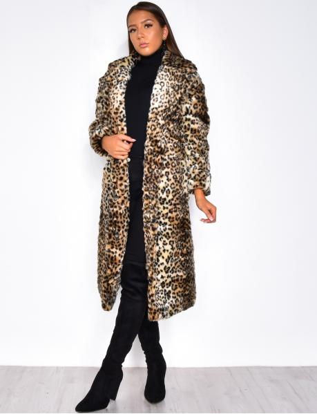 Veste longue en fausse fourrure léopard