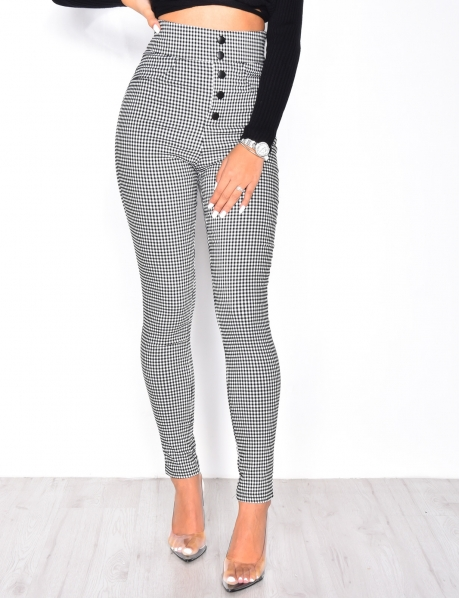 High Waisted Gingham Trousers