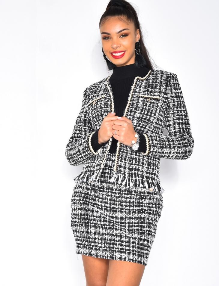 Veste courte en tweed à franges
