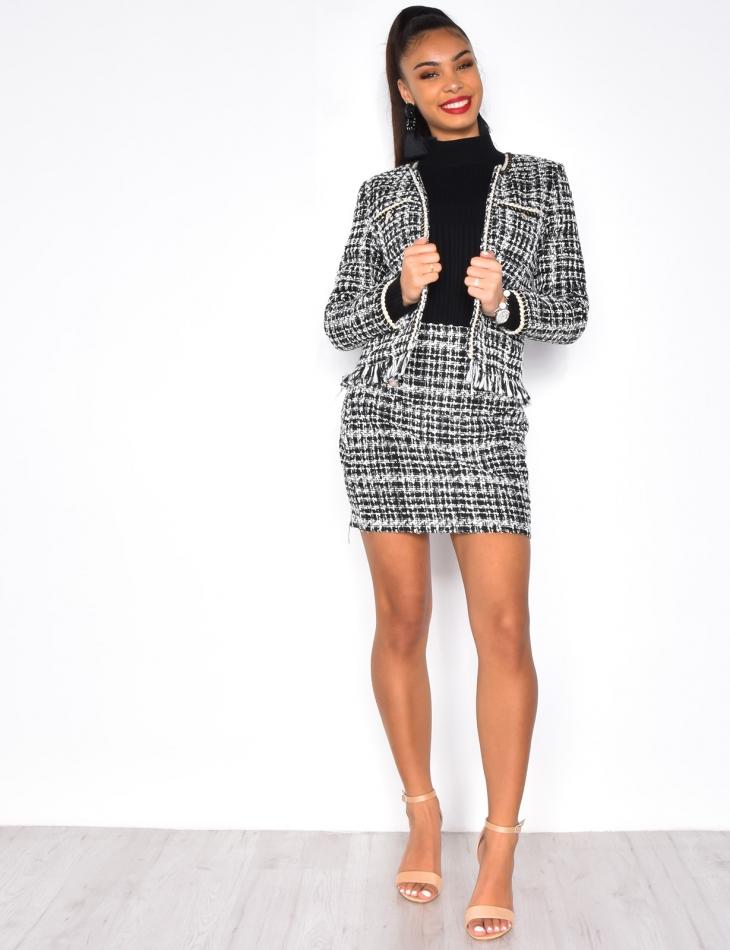 Short Tweed Jacket with Fringes