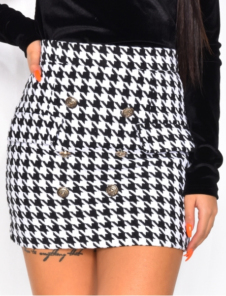 High Waisted Officer Skirt with Houndstooth Pattern