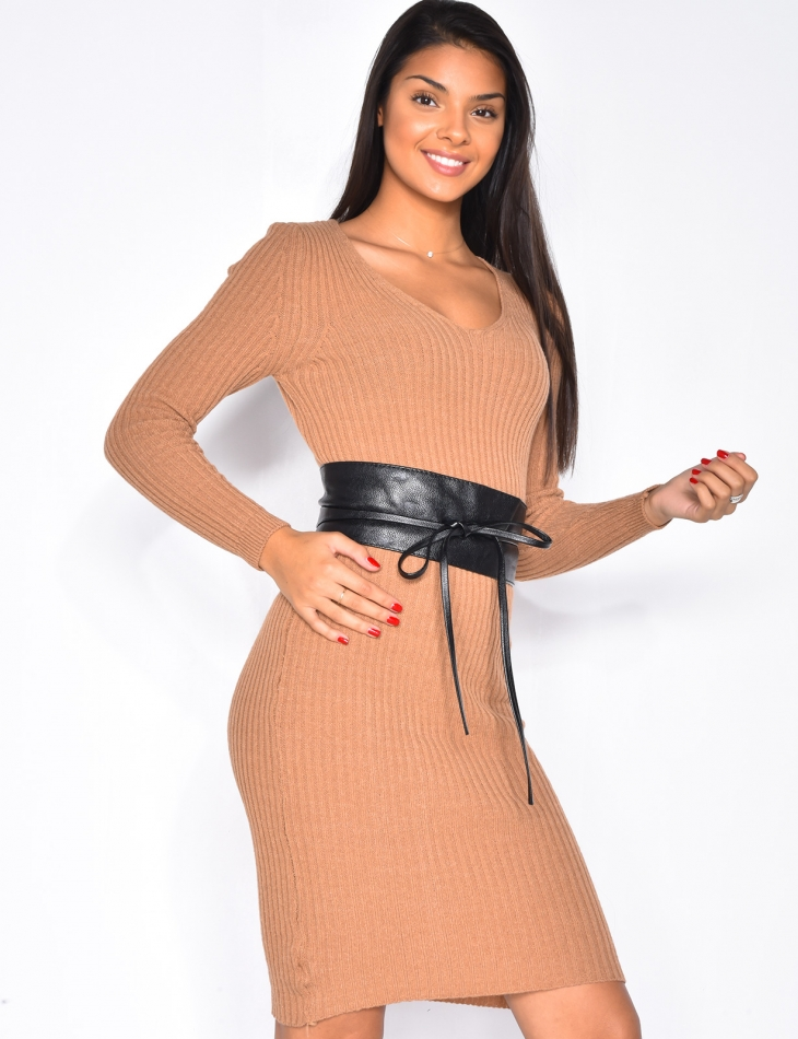 Ribbed Jumper Dress with Long Sleeves