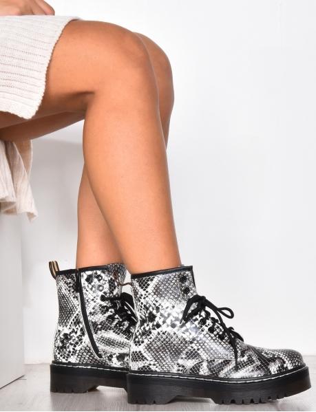 Snakeskin print combat boots