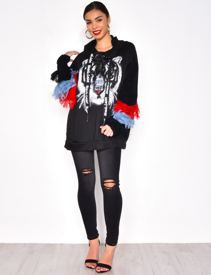 Oversized Sweatshirt with Fringes and Tiger Print