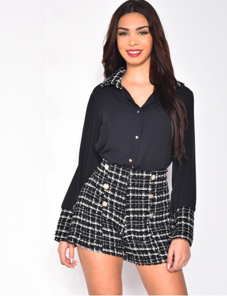 Loose Fit Shirt with Sleeves and Tweed Collar