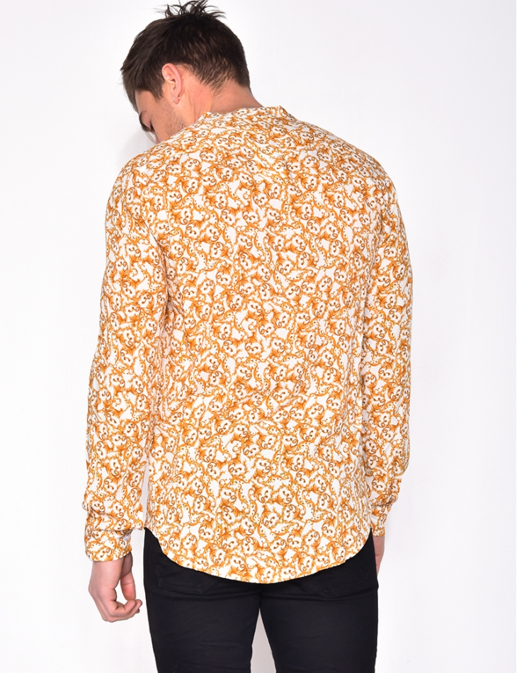 Chemise manches longues motif baroque