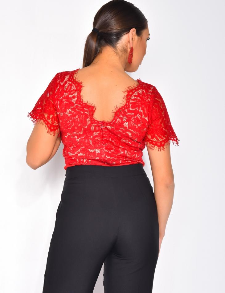 V-Neck Lace Bodysuit