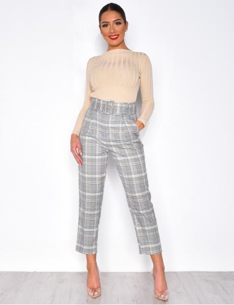 Pantalon taille haute à carreaux et ceinture