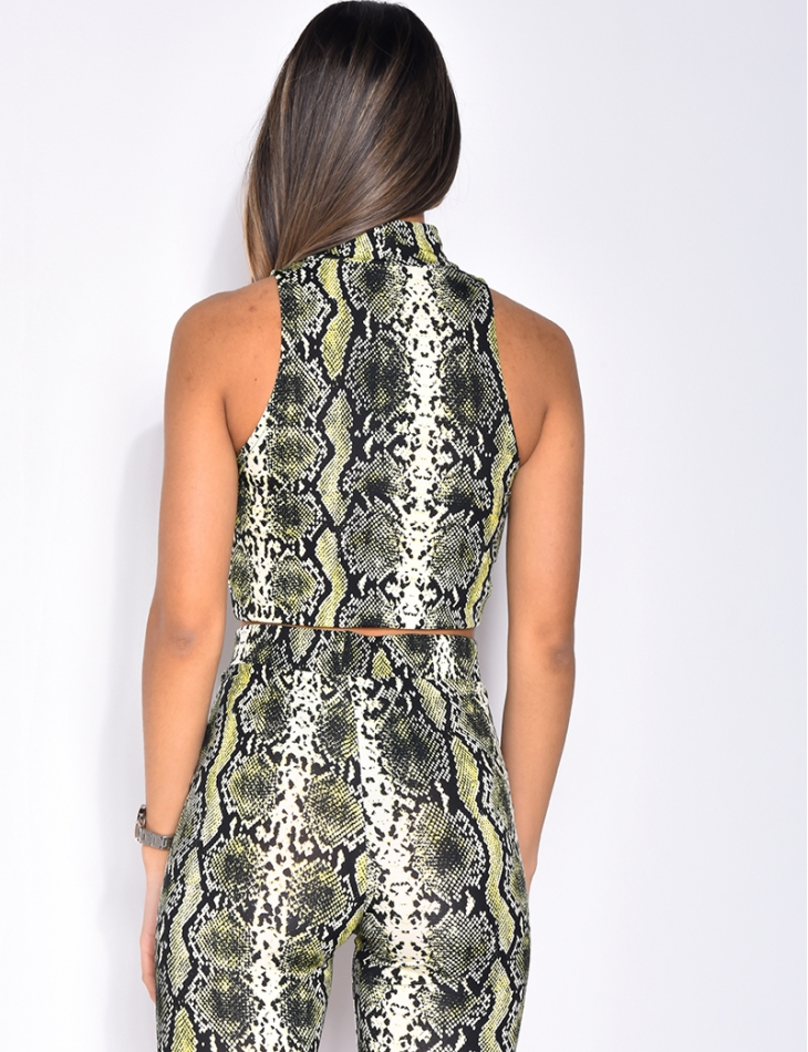 Sleeveless Top with Snakeskin Pattern