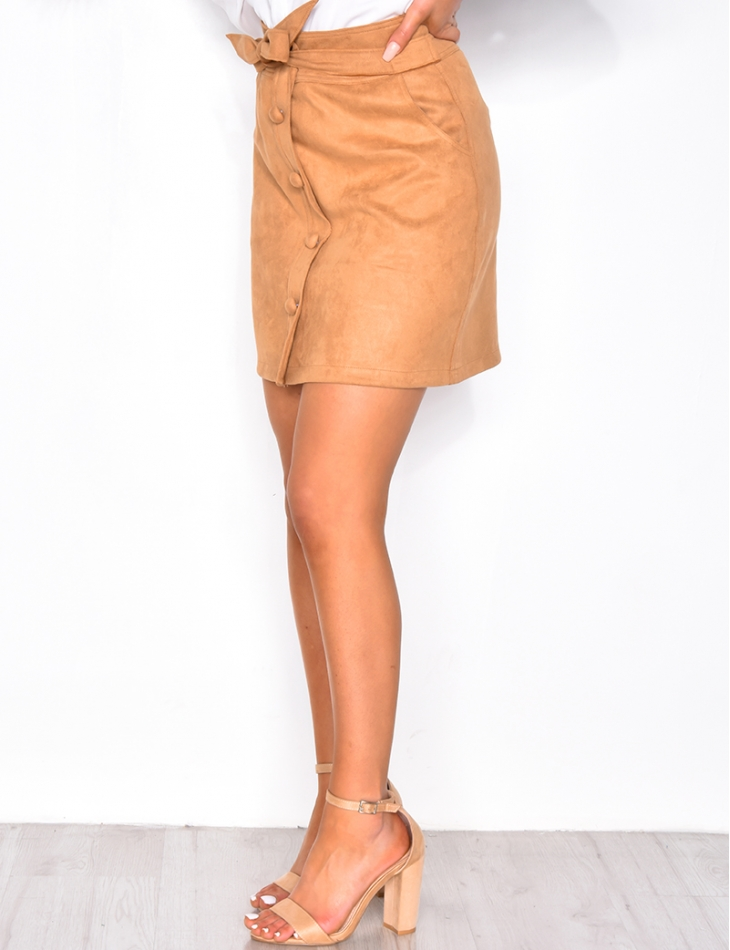 Suedette Tie Skirt with Buttons