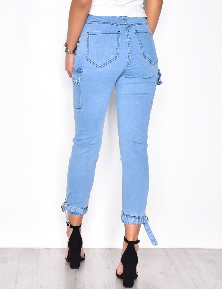 Faded Cargo Jeans with Pockets