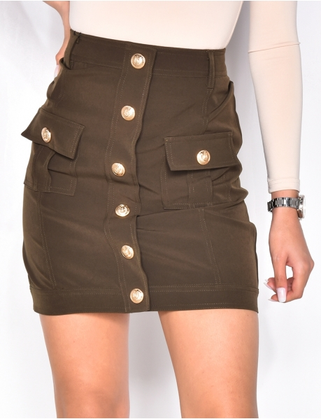 Skirt with Officer Buttons and Pockets