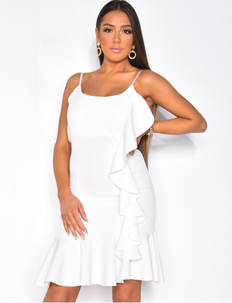 Dress with Thin Straps & Ruffles