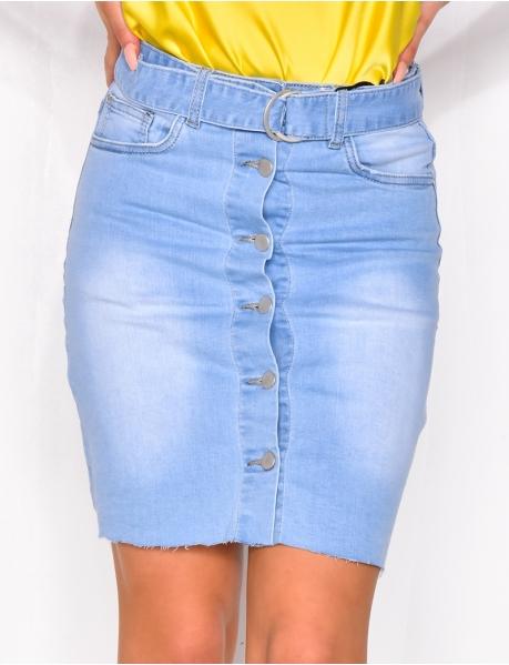 Jupe en jeans à ceinture