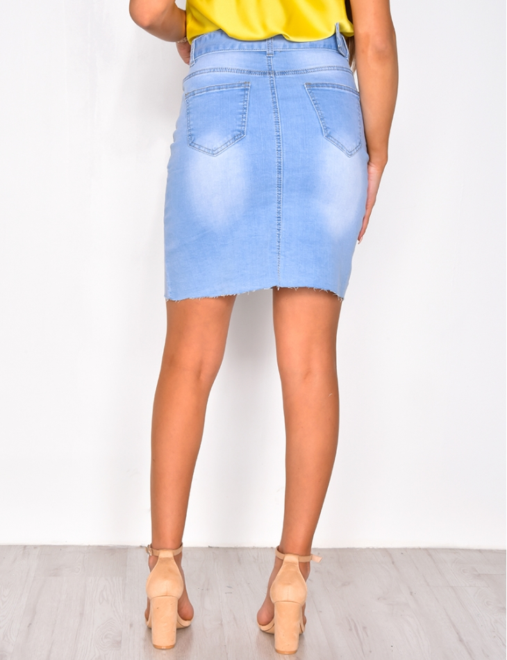 Denim Skirt with Belt