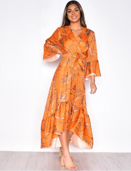Robe longue fluide motifs baroques