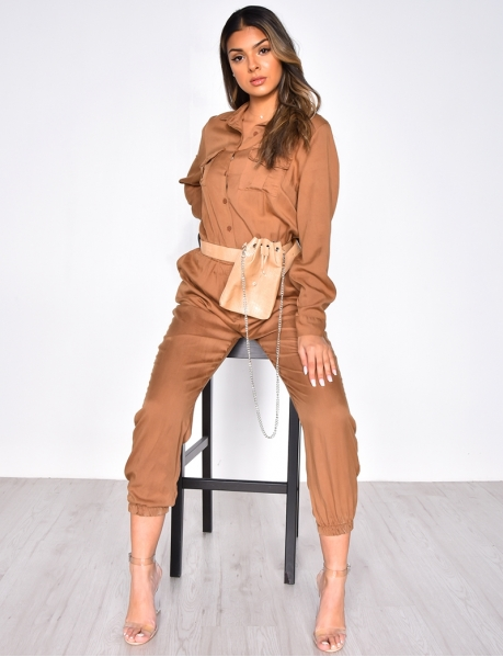 Long Sleeved Button-Up Jumpsuit