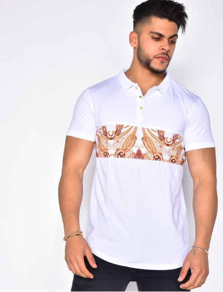 Polo Shirt with Baroque Patterned Stripes