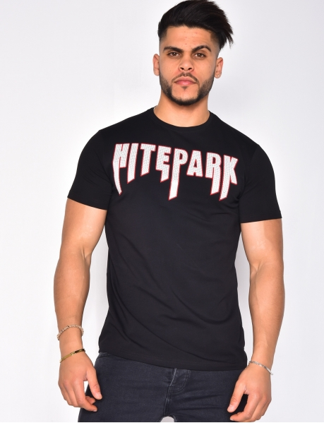 T-shirt with 'HITEPARK' in Rhinestones