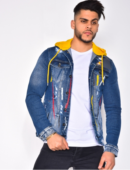 Denim Jacket with Paint Flecks and Hood